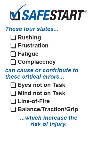 SafeStart, critical states, critical errors, rushing, frustration, fatigue, complacency, eyes not on task, mind not on task, line of fire, losing balance, traction, grip, risk of injury, SafeStart, SafeStart International, safety habits, workplace safety, occupational safety, improve safety culture, boost safety awareness, reduce human failure, reduce injuries, injury reduction, reduce accident rates, improve company figures, prevent critical errors, implement a positive culture change at your company, promote employee engagement, boost employee commitment, 24/7 safety, safety round the clock, being safe 24/7, safe behavioural patterns, learn safe behaviour, acquire universal safety skills, safety skill for families, safety skills for children, safety skills for everyone, safety training for employees, safety for the whole company, safety training for kids, improve operational efficiency, improve quality, safety-related habits, safety-related behaviour, risk patterns, ensure high performance, critical states, critical decisions, critical errors, how injuries occur, how to prevent injuries, how to prevent accidents